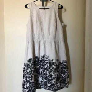 LOFT Beige/Tan Linen Dress w/ Black Floral Hem